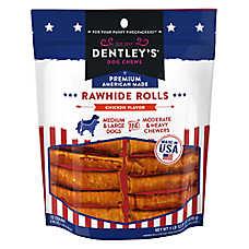 Dentley's® Premium American Made Rawhide Rolls Bone Dog Treats - Chicken
