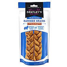Dentley's® Traditional Rawhide Braids Dog Treats - Peanut Butter