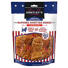 Dentley's® Premium American Made Rawhide Knotted Bones Dog Treats - Chicken