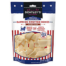 Dentley's® Premium American Made Rawhide Knotted Bones Dog Treats