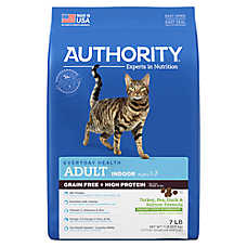 Authority® Indoor Adult Cat Food - Grain Free, High Protein, Turkey, Pea, Duck & Salmon