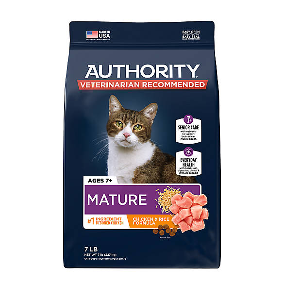 Authority Mature Adult Cat Food Chicken Rice Cat Dry Food