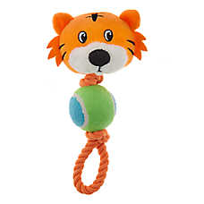 Grreat Choice® Tiger & Rope with Tennis Ball Dog Toy - Plush, Squeaker