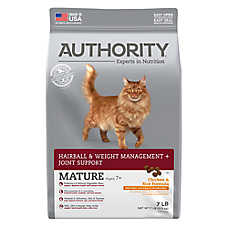 Authority® Hairball & Weight Managment + Joint Support Mature Adult Cat Food - Chicken & Rice