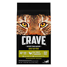 Crave Adult Cat Food - Grain Free, High Protein, Turkey