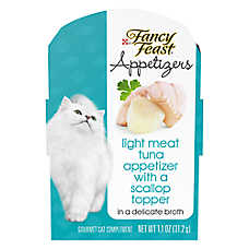 sale 10 / $10 entire stock Purina® Fancy Feast® appetizers cat food, 1.1 oz. pkgs.