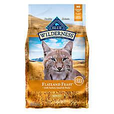 BLUE Wilderness® Flatland Feast ™ Adiult Cat Food - Grain Free, Turkey, Quail & Duck