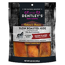 Dentley's® Nature's Chews Slow Roasted Hide Bar Dog Treat - Bacon