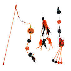 Thrills & Chills™ Halloween Pumpkin Teaser Cat Toy - 3 Pack