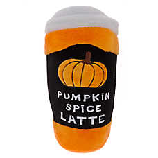 Thrills & Chills™ Halloween Pumpkin Spice Latte Dog Toy - Plush, Squeaker