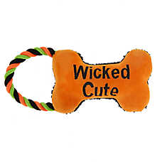 "Thrills & Chills™ Halloween ""Wicked Cute"" Bone Dog Toy - Rope, Squeaker"