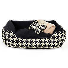 Grreat Choice® Herringbone Cuddler Pet Bed Gift Set