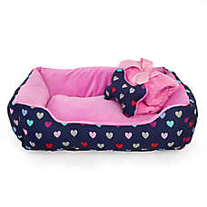 Grreat Choice® Hearts Cuddler Pet Bed Gift Set