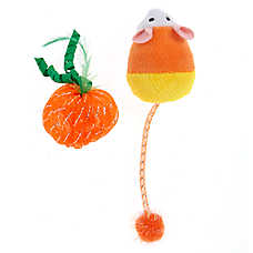 Thrills & Chills™ Halloween Candy Corn Mouse & Pumpkin Cat Toys - 2 Pack
