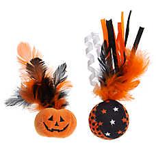 Thrills & Chills™ Halloween Pumpkin & Ball Feather Cat Toys - 2 Pack