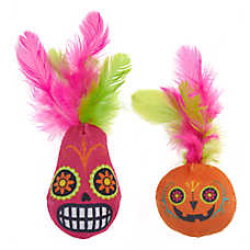 Thrills & Chills™ Halloween Day of the Dead Pumpkin Cat Toys - 2 Pack