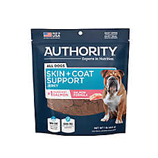 Authority® Skin + Coat Support Jerky Dog Treat - Grain Free, Gluten Free, Salmon