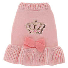 Top Paw® Crown & Bow Pet Sweater Dress