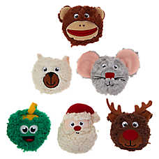 Merry & Bright™ Holiday Heads Dog Toys - Plush, Squeaker
