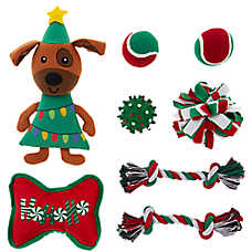 Merry & Bright™ Holiday Dog Tree Dog Toys - 8 Pack