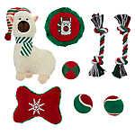 Merry & Bright™ Holiday Llama Dog Toys - 8 Pack
