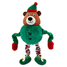 Merry & Bright™ Holiday Bungee Elf Bear Dog Toy - Plush, Squeaker