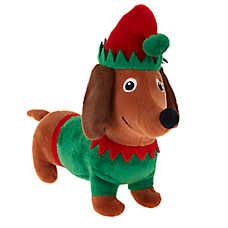 Merry & Bright™ Holiday Wiener Elf Dog Toy - Plush, Squeaker