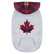 Beaver Canoe Pullover Dog Hoodie - Maple Leaf