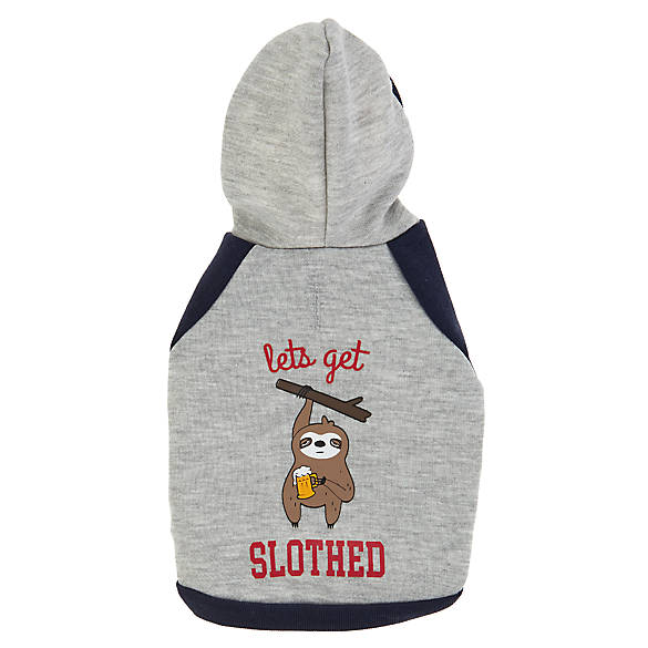 Top Paw Lets Get Slothed Pet Hoodie Dog Sweaters Coats