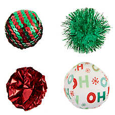 Merry & Bright™ Holiday Catnip Ball Cat Toys - 4 Pack