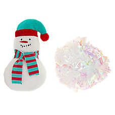 Merry & Bright™ Holiday Snowman & Tinsel Snowball Cat Toys - 2 Pack