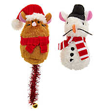 Merry & Bright™ Holiday Gingerbread & Snowman Mice Cat Toys - 2 Pack