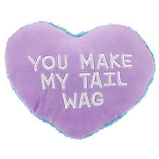 "Top Paw® Valentine ""You Make My Tail Wag"" Heart Dog Toy - Plush, Squeaker"