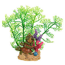 Top Fin® Turtles & Artifical Plant Aquarium Ornament