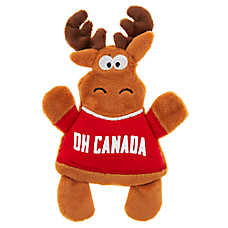 Top Paw® Canada Day Moose Flattie Dog Toy - Crinkle, Squeaker