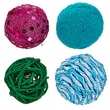 Whisker City® Fun Ball Cat Toys - 4 Pack (COLOR VARIES)