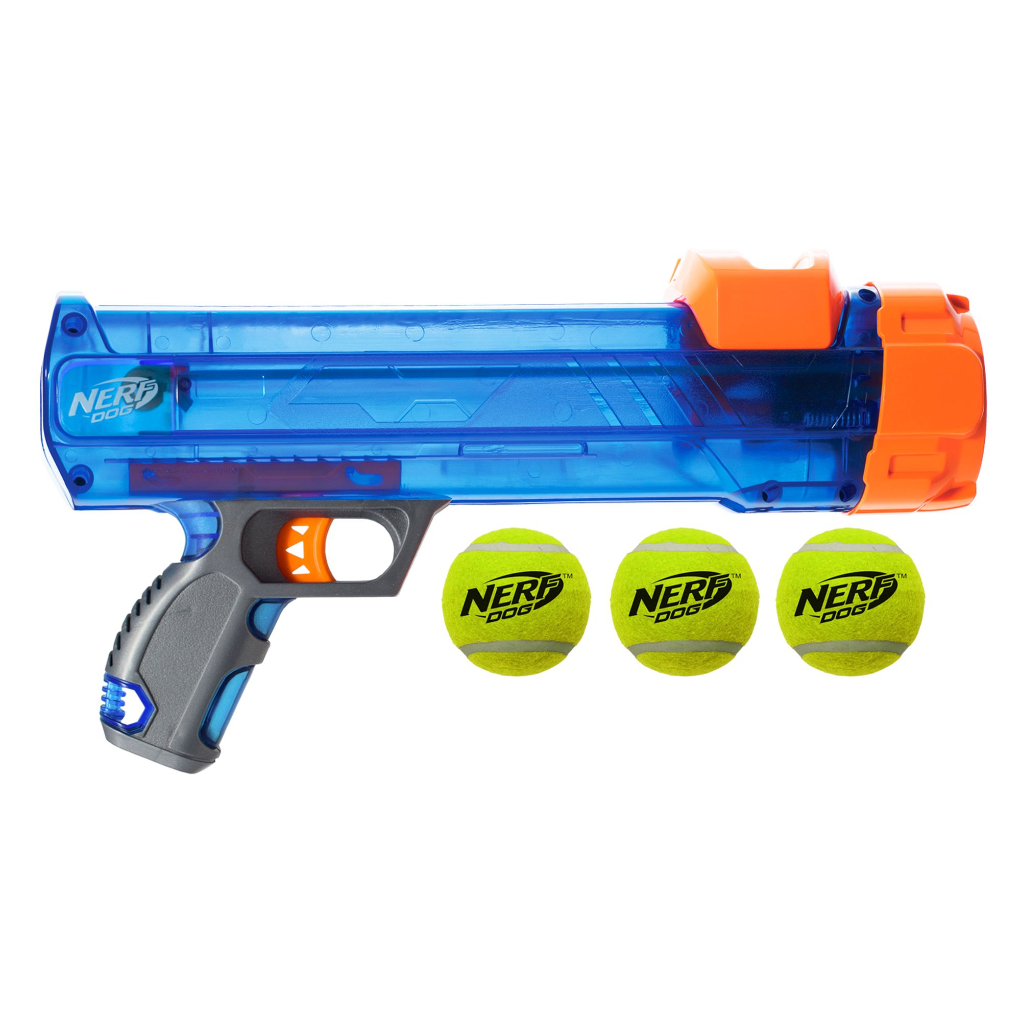 Launches up to 50 ft Great for Fetch Nerf Dog Tennis Ball Blaster Dog Toy Assorted Sizes Hands-Free Reload Balls Included