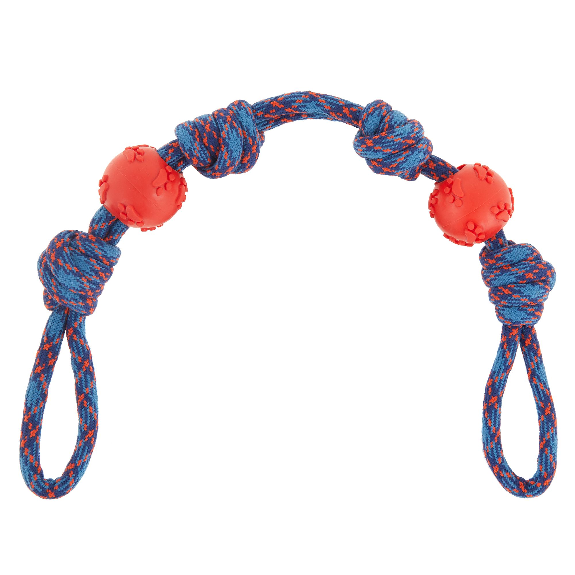 Top Paw 4 Knot Rope with 2 TPR Ball Dog Toy
