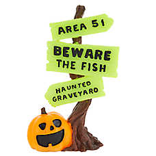 Thrills & Chills™ Wooden Sign Halloween Aquarium Ornament