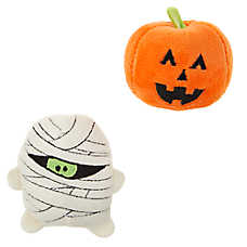 Thrills & Chills™ Pet Halloween Plush Pumpkin & Mummy Cat Toys - 2 Pack