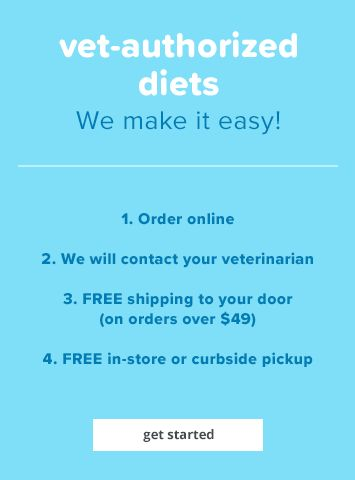 vet authorized diets, we make it easy! 1. order online 2. we will contact your veterinarian 3. Free shipping to your door (on orders over $49) 4. Free in-store or curbside pickup - get started