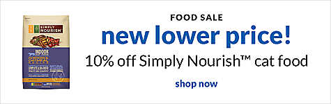 food sale - new lower price! 10% off Simply Nourish cat food. shop now