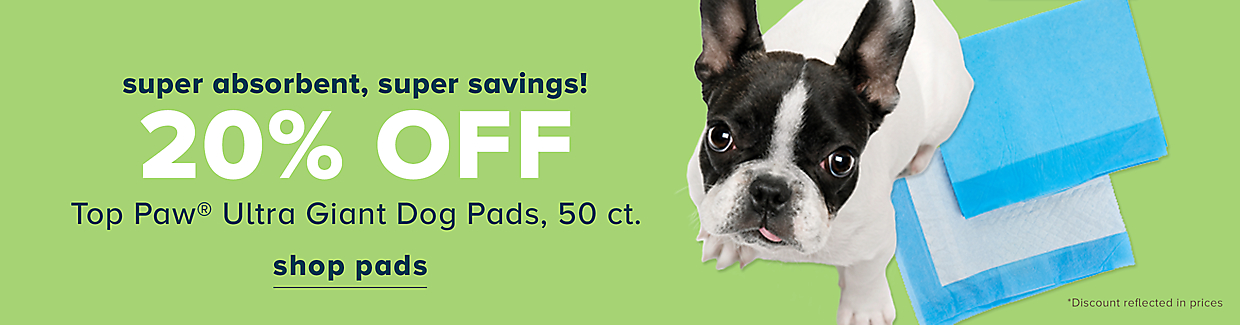 20% off Top Paw Ultra Giant Dog Pads, 50 ct.