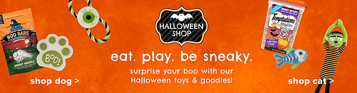 surprise your boo with our Halloween toys and goodies! (Left) Shop dog (Right) Shop cat
