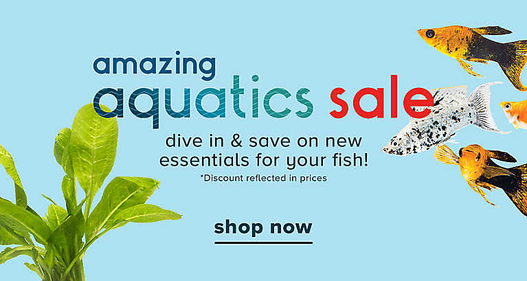 Amazing aquatics sale. Dive in & save on new essentials for your fish! Discount reflected in prices. Shop now.