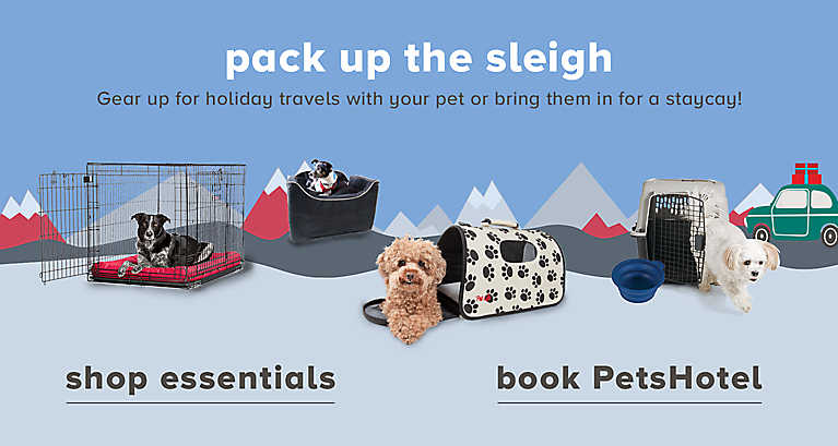 Gear up for holiday travels with your pet, or bring them in for a staycay!