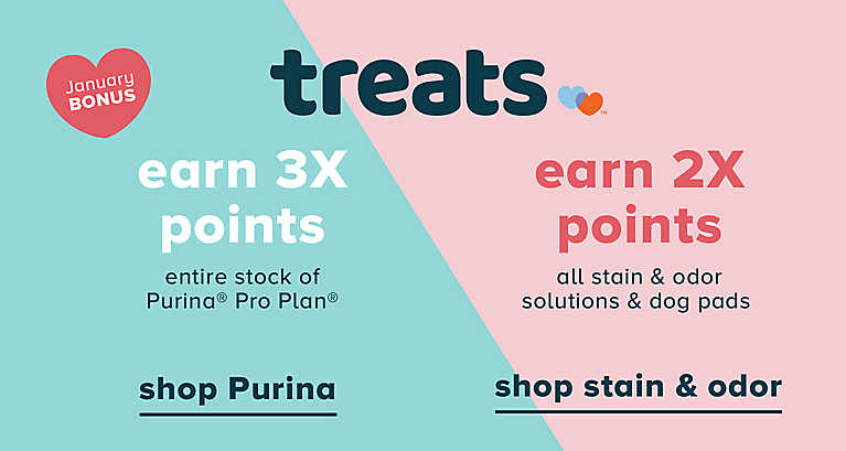 earn 3X points on entire stock of Purina Pro Plan AND earn 2X points on all stain and odor solutions and dog pads