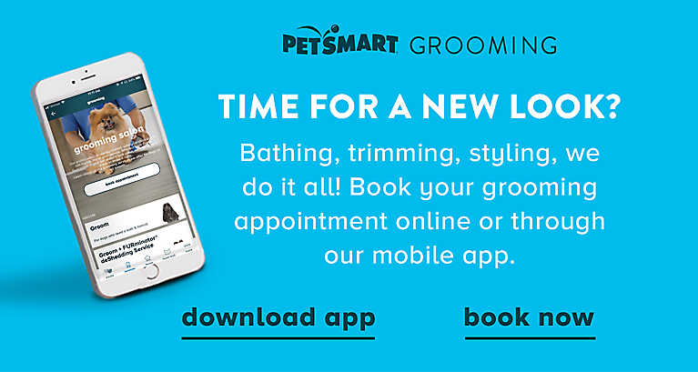 Time for a New Look? Bathing, trimming, styling, we do it all! Book your grooming appointment online or through our mobile app.