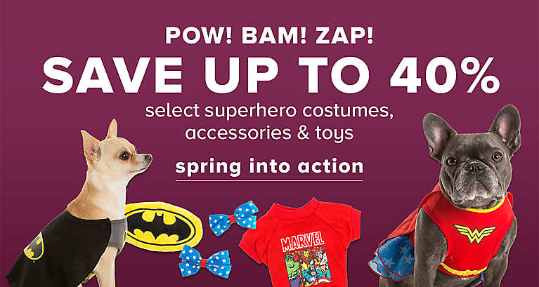SAVE UP TO 40% select superhero costumes, accessories & toys