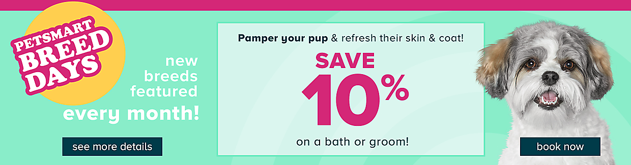 Save 10% on a bath or groom for your pet. See this month's feature pet and book your appointment!
